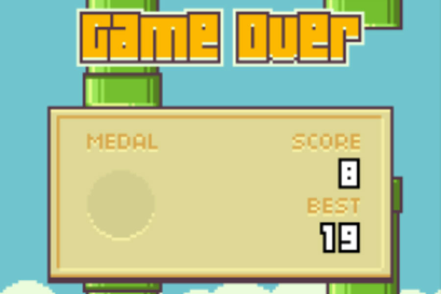 The often seen game over screen in Flappy Bird.
