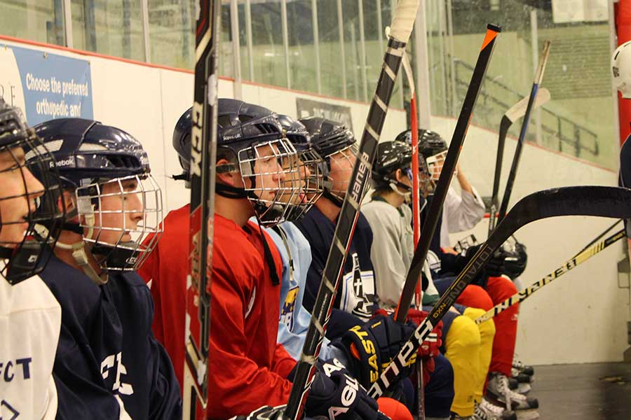 Members+of+the+FHC+ice+hockey+club+line+the+bench+during+practice+on+Sept.+25+at+the+Rec-Plex+in+St.+Peters.+The+team+begins+its+season+Monday%2C+Nov.+3+against+Lindbergh+at+the+Kennedy+Arena.+