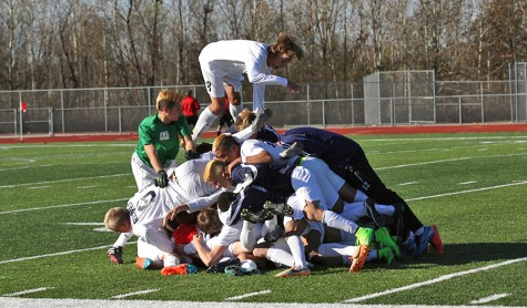 At the final buzzer, the men's soccer team piles on top of one another after defeating Marquette 2-1 to punch their ticket to the final four. The team will battle Lee's Summit this Friday at 6 p.m. - who they beat earlier in the season - for a spot in the title game on Saturday.