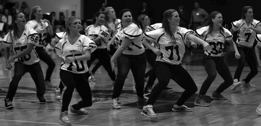 The Sensations perform one of their dances at a Pep Assembly.