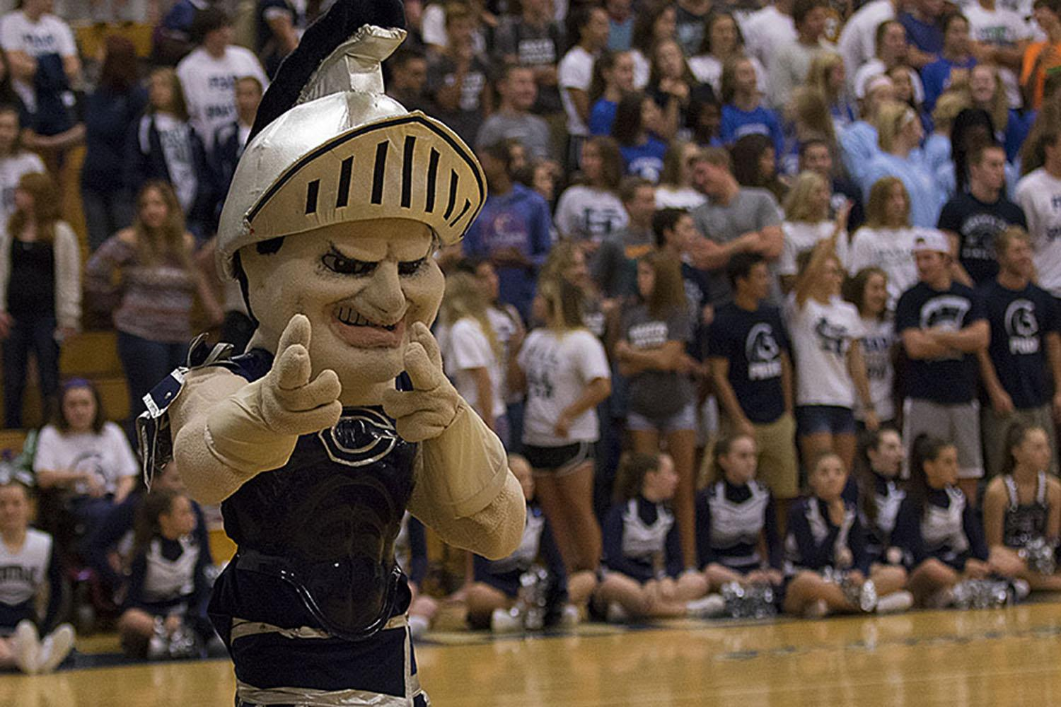 King Leo shoots the camera a wink during the Fox 2 Pep Rally.