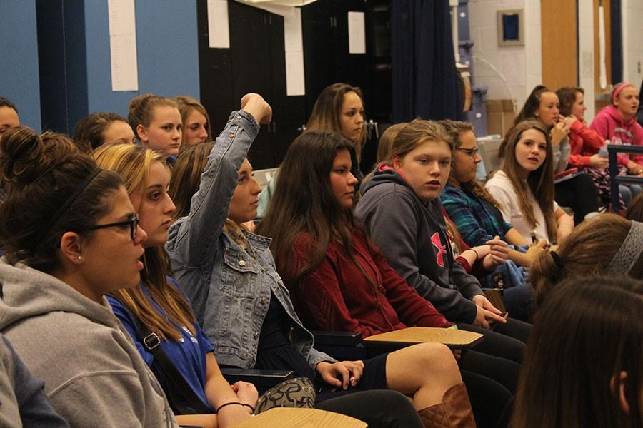 Girls who attended the introductory meeting for lacrosse got the chance to ask any questions they had