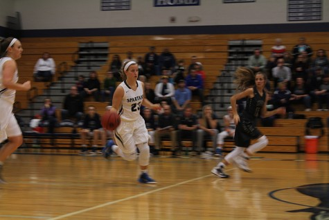 Riley Wilson dribbles the ball down the court to score a point for Francis Howell Central.