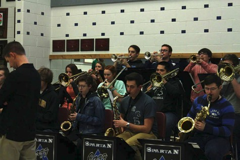The jazz ensemble performs during a rehearsal performance for students during sixth hour on Jan. 26. The next day, the ensemble would perform at the Missouri Music Educators Association Conference.