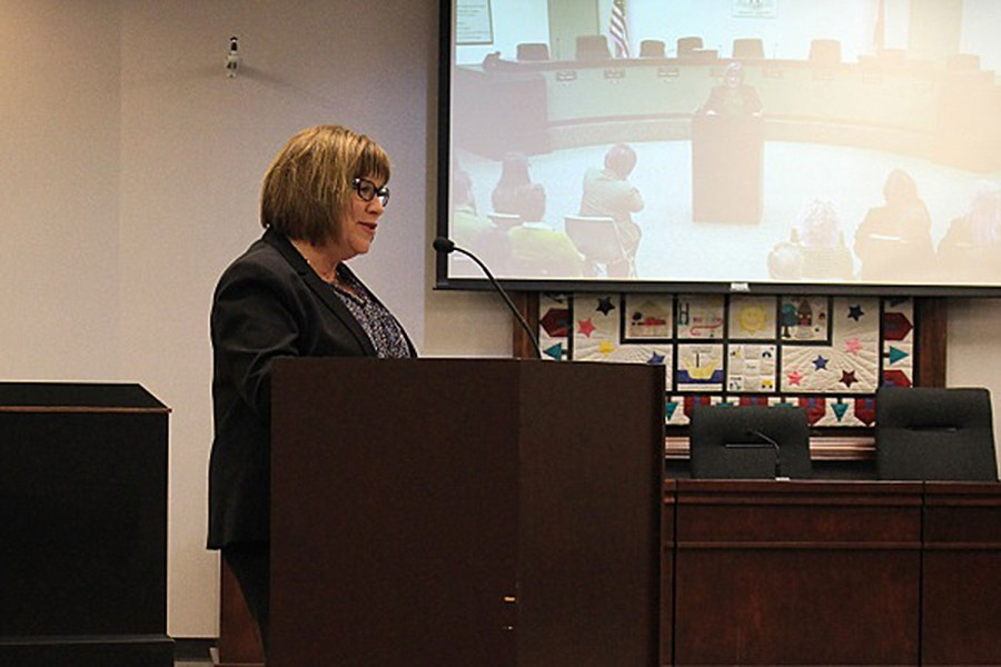 Dr. Mary Hendricks-Harris addresses the crowd shortly after being named FHSD superintendent. Dr. Hendricks-Harris will succeed Dr. Pam Sloan, effective July 1. Dr. Hendricks-Harris was named after a months long search that began after Dr. Sloan announced her retirement in October 2015.