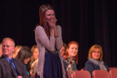 Senior Abby Dwyer tears up as she hears the kind words written about her by history teacher Mr. Donald Lober.