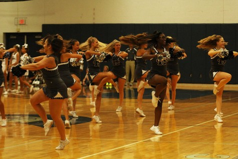 Varsity sensations preforming in the fall at the homecoming pep assembly.