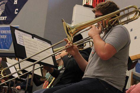Senior Alan Meister plays bass trombone in the FHC Spartan Jazz Ensemble