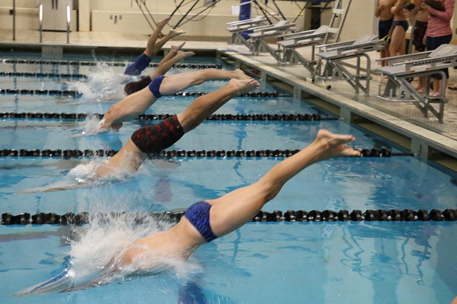 Varsity+boys+swim+meet+at+the+RecPlex%2C+jumping+into+the+pool+to+start+the+race.