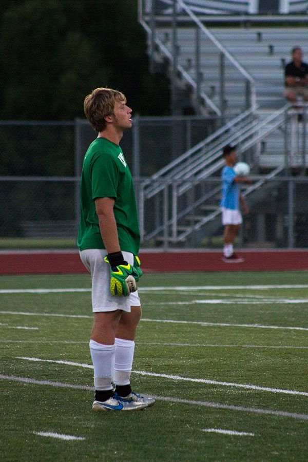 Senior goalie Nathan Smith stays on the alert for North