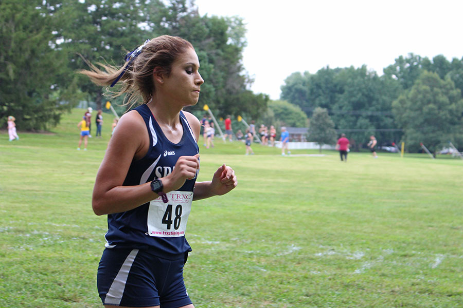 Co-captain Ren Coleman during a season race. The girls have been running very well lately, four of them placed in the Warrenton Invitational.