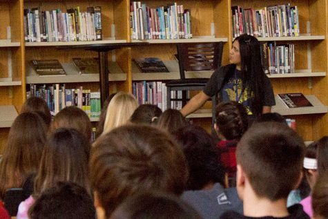 Sabaa Tahir speaks to a group of English students in the Learning Commons.  Tahir visited our school to promote the second book in her series which gained a spot on the New York Times Best-sellers List.