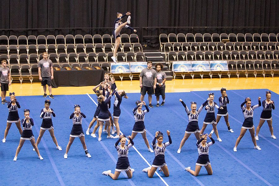 The cheerleading team in Columbia at state. The girls and boy placed first out of 16 teams.