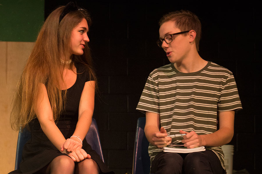 Laura Weiss (Senior) and Abram Cutshall (Junior) rehearsing their scene as Marvalyn and Steve in the theater.