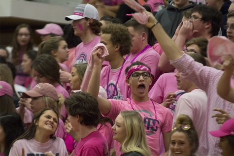 The FHC student section decked out for Pink Out night.
