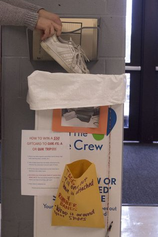 Central Outreach collects shoes for the Shoeman Water Project the first two weeks of April 2017. Boxes can be found outside the main student parking lot entrance, and outside the Activities Directors Office.