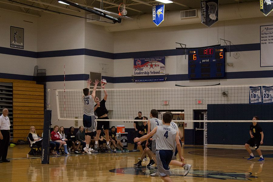 Nathan Gestenkors going up for a block. According to Jarus, the team could work on blocking.