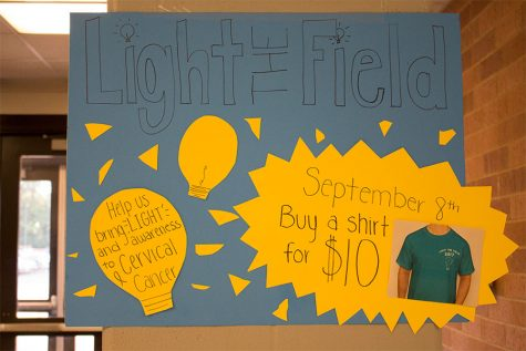 Student council hangs posters in hallways around school advertising Light the Field. Student Council has held this event for two years.