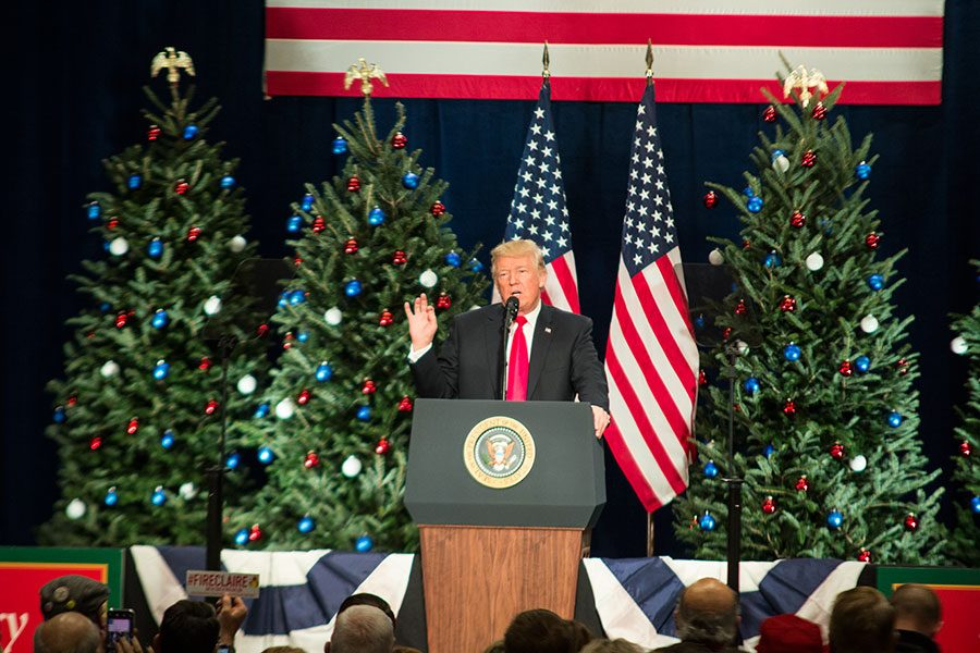 President+Donald+Trump+delivers+a+speech+at+the+St.+Charles+Convention+Center.+Here%2C+he+discussed+tax+cuts+and+small+businesses+to+an+enthusiastic+crowd.+