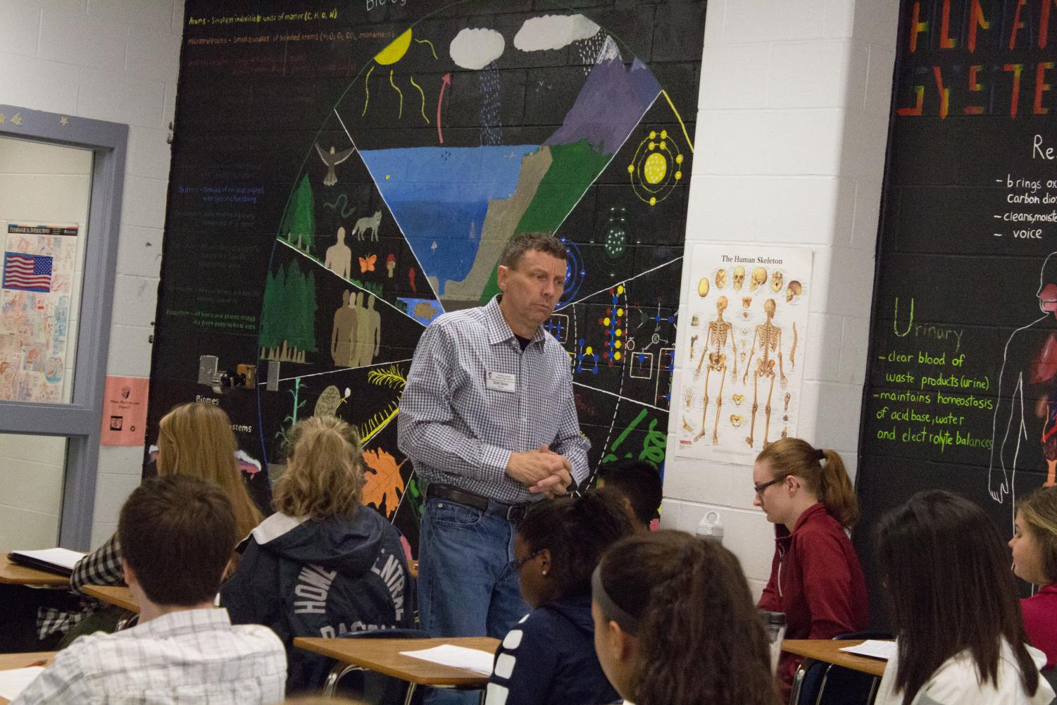 Mr. Scott Dauve teaches the anatomy classes. He's been teaching here and impacting students since the school opened.