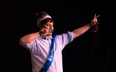 Gabe Delgado gives a shout out to the members of Ranch FC after he was crowned Mr. FHC on March 12.
