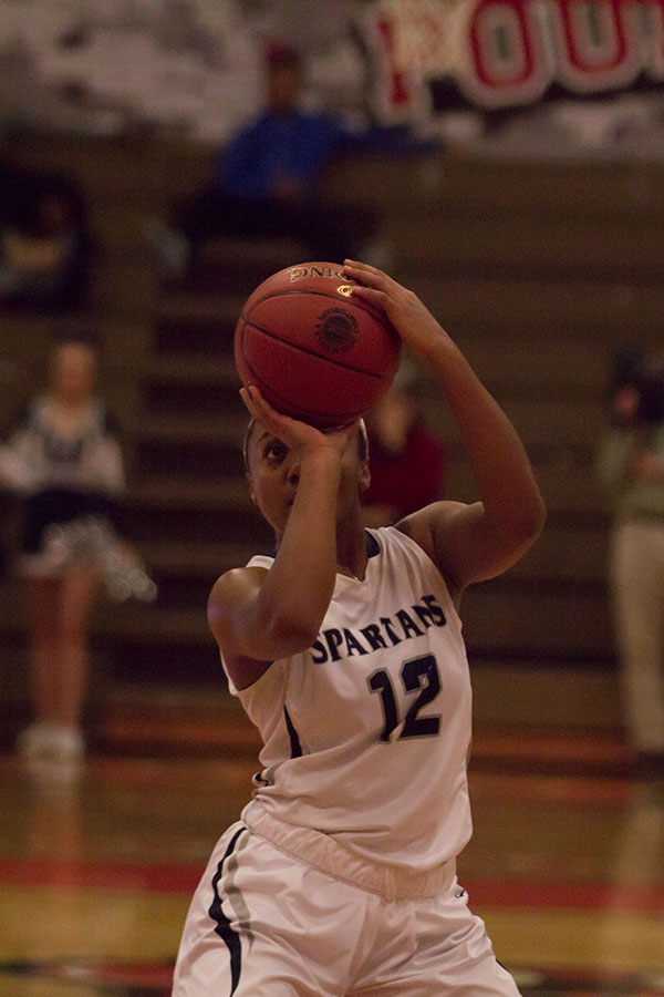 Yani Curry lines up for a shot. She played an important role in the sectionals game.