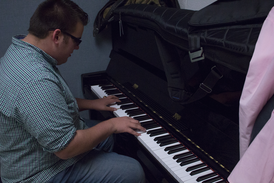 Sam Eckhoff practices for his act. Him, along with his two partners, have been preparing long before they signed up.