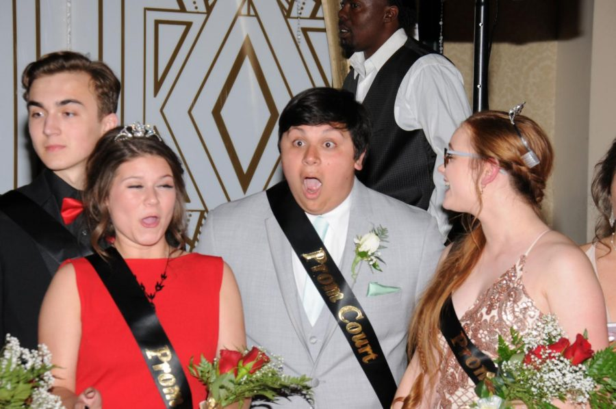 Senior+Gabe+Delgado+drops+his+jaw+in+amazement+as+he+is+announced+Prom+King.++Standing+in+shock%2C+Delgado+stayed+firm+in+his+stance+in+disbelief+until+asked+to+walk+forward+to+be+crowned.+Delgado+won+the+title+of+Mr.+FHC+weeks+before%2C+and+now+adds+FHC+Prom+King+to+his+list+of+high+school+feats.+