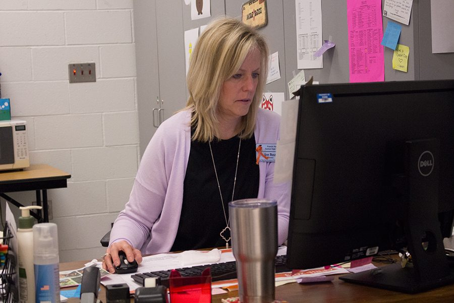 Mrs.+Ross+sits+at+her+computer+and+works.+Her+efforts+don%27t+go+unnoticed+by+her+students