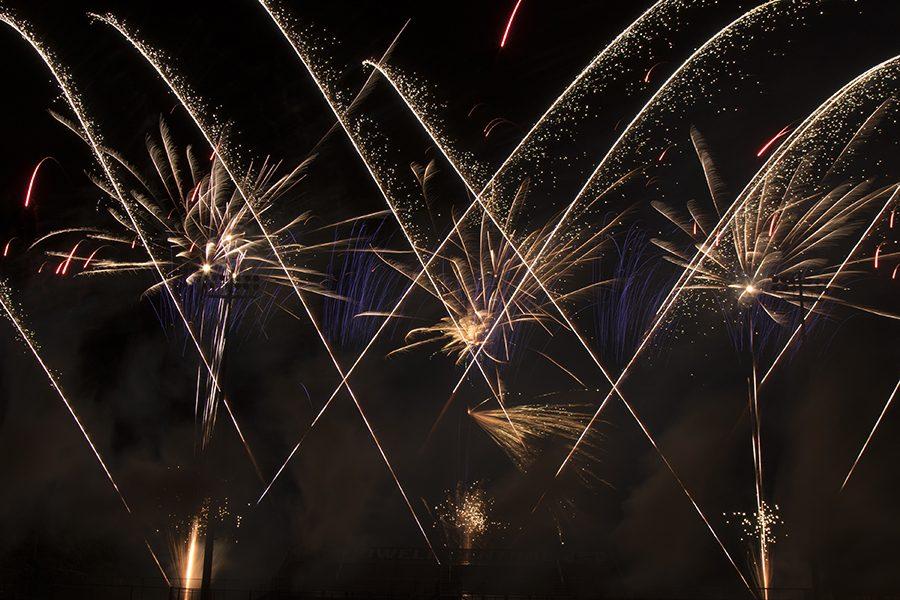 Fireworks+streak+across+the+sky+over+Don+Muench+Memorial+Stadium+during+the+kick-off+to+Party+Central.+