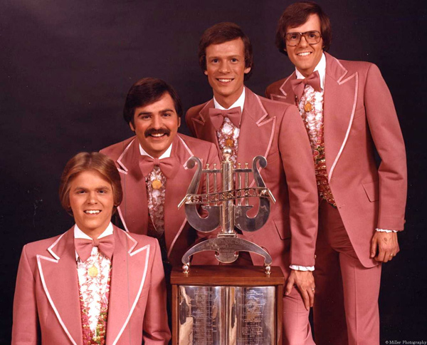 Bluegrass Student Union after their championship moment in 1978. (From left to Right) Ken Hatton (lead), Allen Hatton (tenor), Dan Burgess (baritone), Rick Staab (bass). The quartet remains one of the most listened to quartets by barbershoppers today.