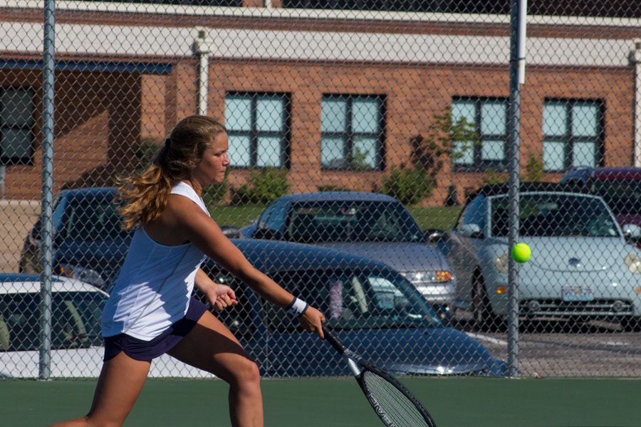 During+the+matches+against+Fort+Zumwalt+East%2C+Varsity+player+Mackenzie+Jones+focuses+on+finding+comfort+in+the+rhythmic+sport+of+tennis.+People+like+Jones+see+sports+as+something+as+both+a+way+to+win+and+a+way+to+help+one%27s+self.+%22I+feel+relaxed%2C+tennis+doesn%27t+stress+me+out%2C%22+Jones+said.+%22%5BBut%5D+it+feels+good+to+be+undefeated+%5Bsince%5D+it%27s...+a+nice+confidence+booster+for+everyone.%22