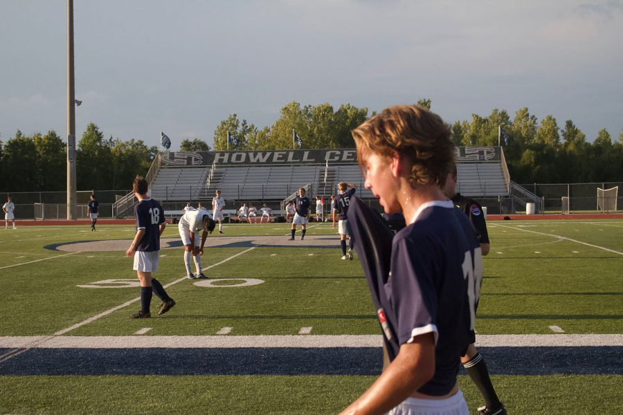 During+the+JV+soccer+game+on+Sept.+18%2C+Josiah+Gould+spilled+water+all+over+himself+on+the+way+to+the+field.+He+then+attempted+to+wipe+it+off+with+his+jersey.+