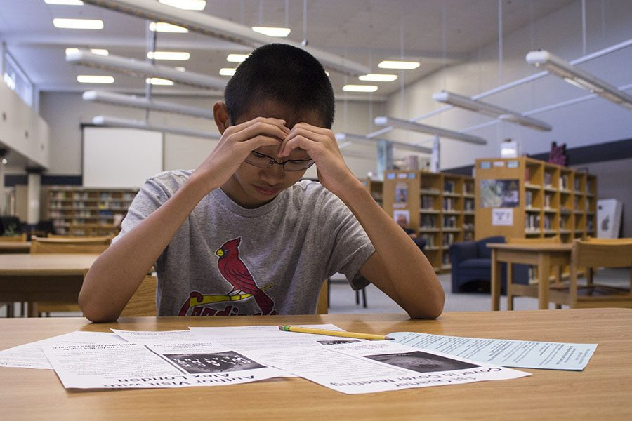 Sophomore Sam Chen diligently focuses on his schoolwork while dealing with stress. Students who are involved in activities and difficult classes are put through this same stress every day