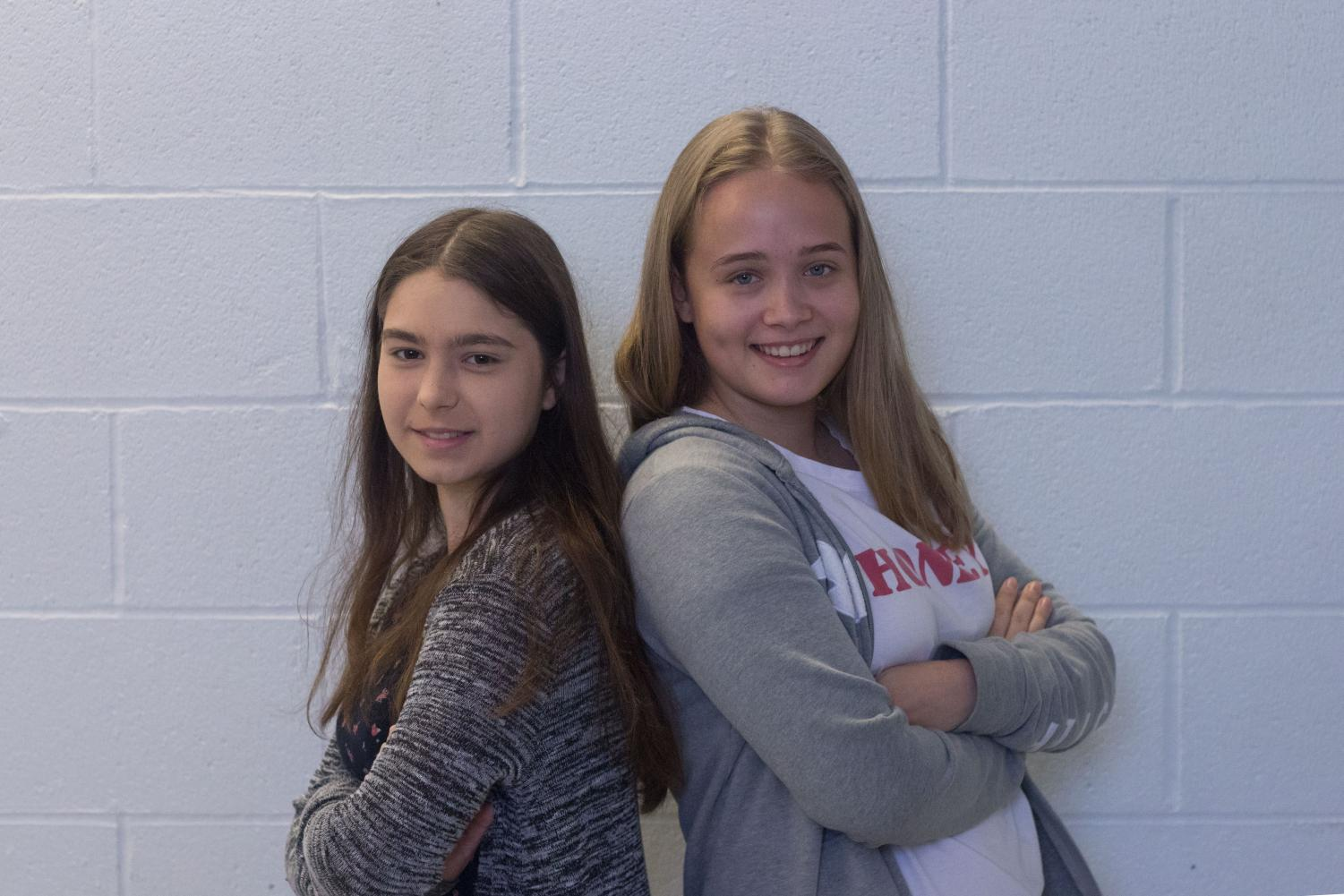 German exchange students Klara Kumpfel (left) and Julia Jansen (right) stand bak to back. Both students will be attending Francis Howell Central until the end of the school year.