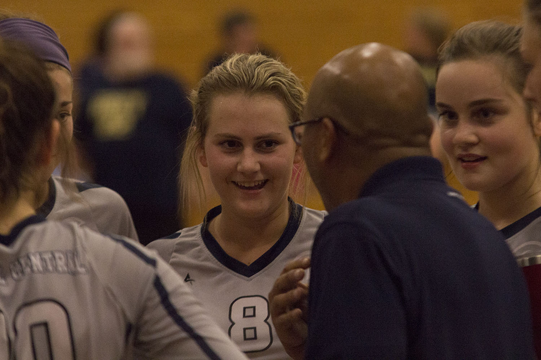 Senior, Josie Prince, receiving one of her last pep-talks of her high school volleyball career.