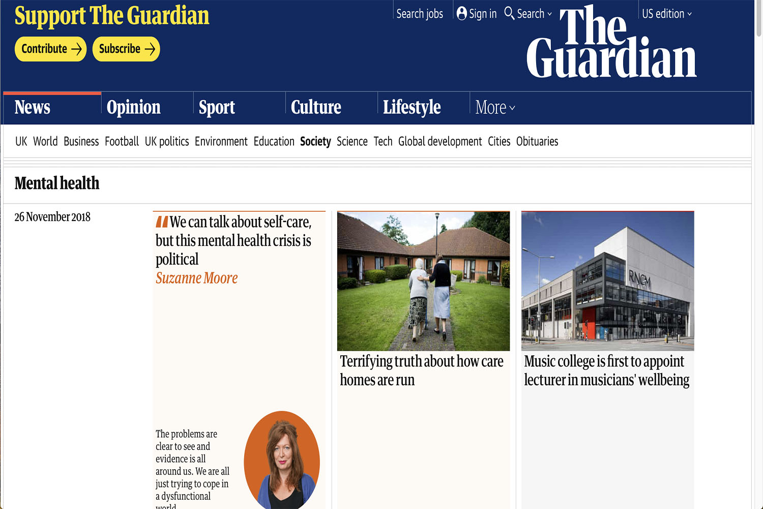 The Guardian is a UK and US newspaper that uploaded articles on mental health. They upload articles of these types to help readers identify their psychological well-being.