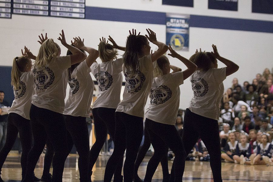 Varsity Sensations performing their perfectly practiced routine at the September Pep Assembly. The first stage of preparing for competition season.