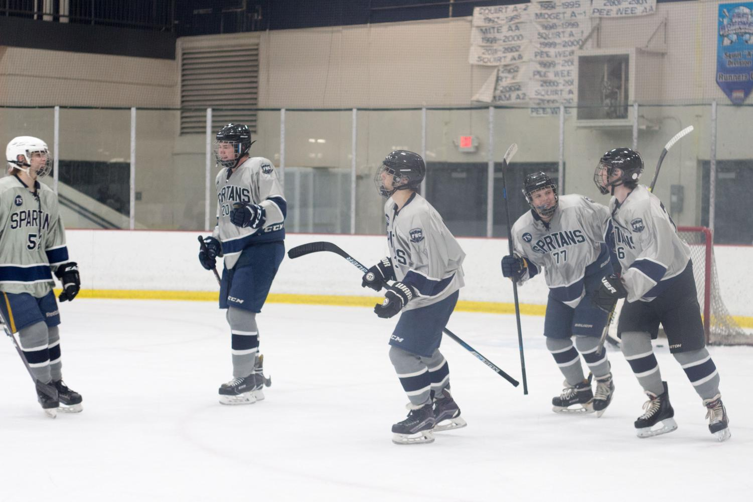 The hockey team has accumulated an 8-4-0 record, and is expected to only improve from there. Here the team can be seen building camaraderie.