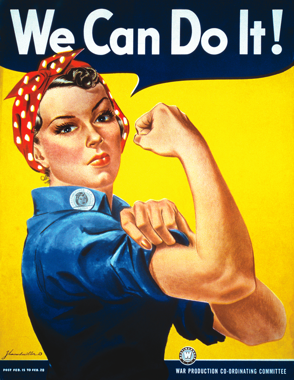 Rosie the Riveter pushing past stereotype barriers and bringing new ones to light. During WWII Rosie was a symbol of societal advancement surrounding stereotypes.