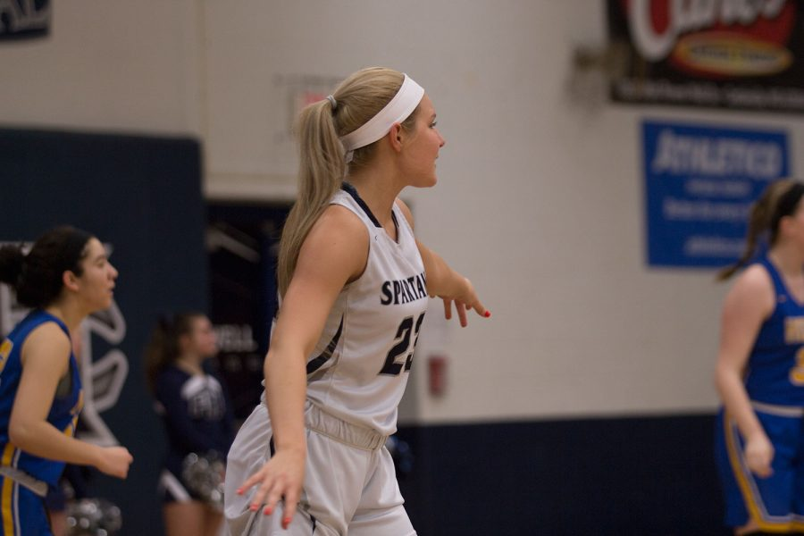 Sofia Tweedie plays lockdown defense on the Vikings offense. The FHC girls went on to win 48-20.