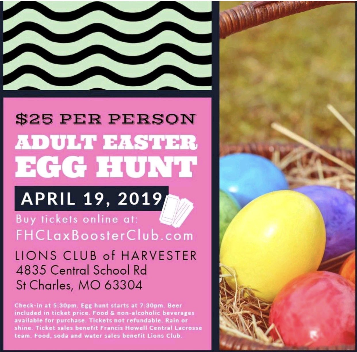 The lacrosse program is hosting an adult Easter egg hunt on Good Friday. This photo was tweeted out from the official account (@FHCLax) to promote the event.