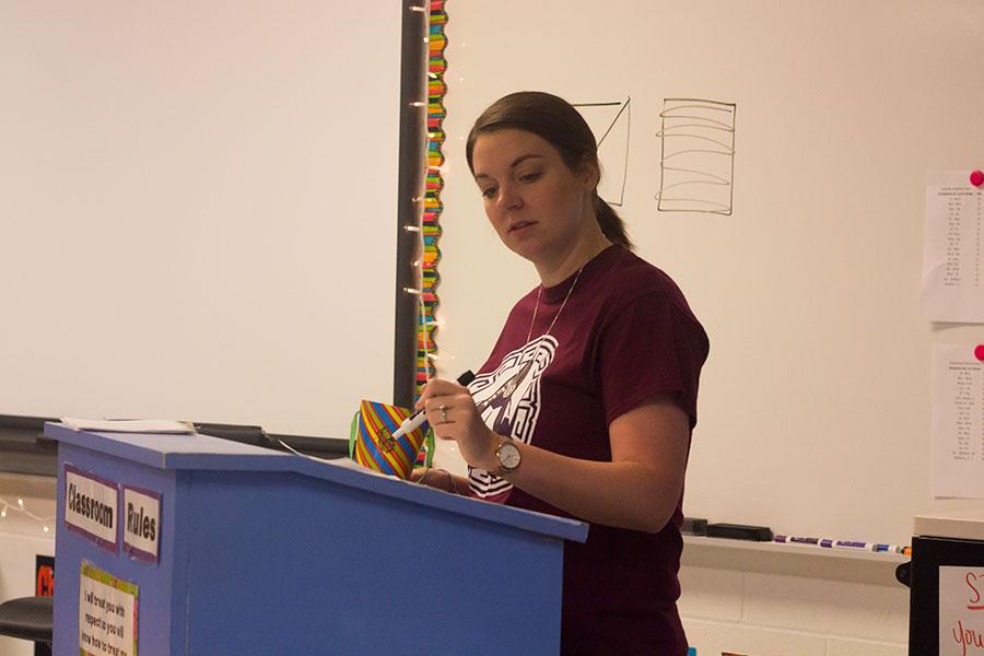 Mrs. LaRue lecturing her freshman Pre-AP English I class