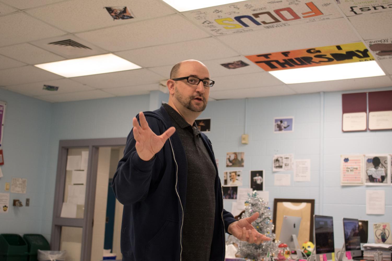 Mr. Schott informing students about the fine art of journalism