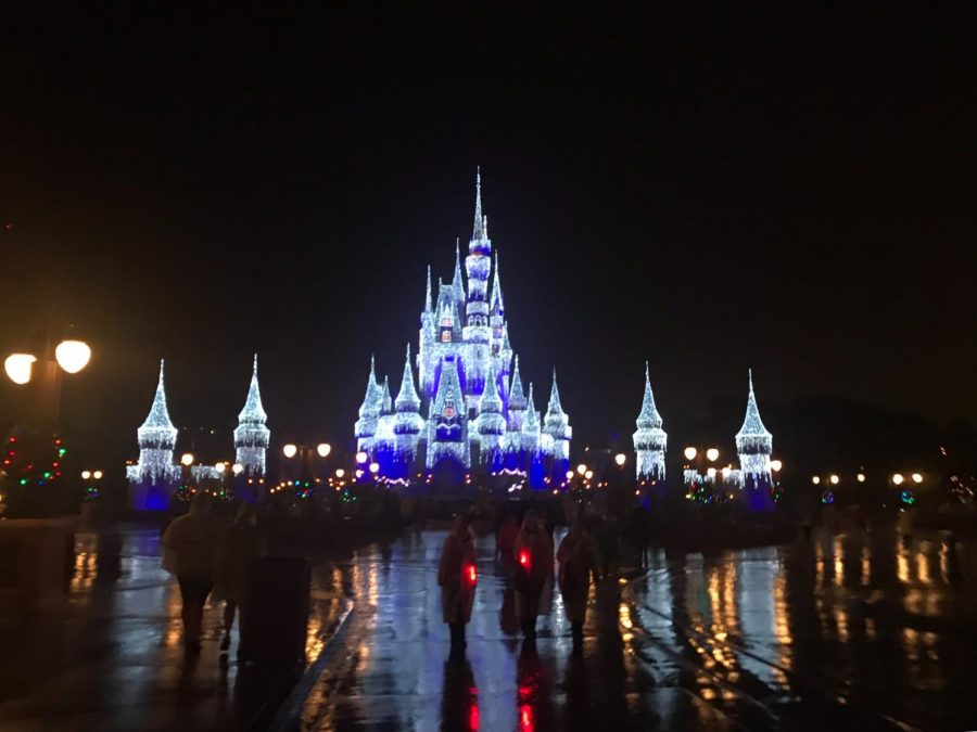 Cinderella%27s+Castle+aglow+with+bright+shimmering+lights+right+before+the+park%27s+closing.+Every+evening+when+the+park+closes+the+castle+in+the+Magic+Kingdom+lights+up+and+has+a+fireworks+display.+