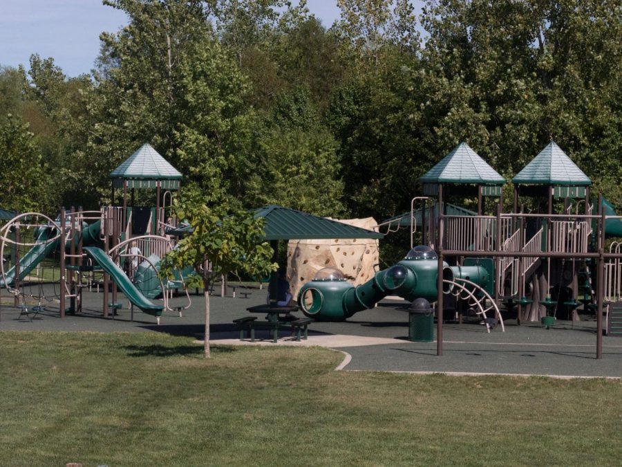 The+playgorund+at+Legacy+Park+offers+slides%2C+swings%2C+and+other+fun+obstacles.+The+playground+is+accesible+for+all+ages.+