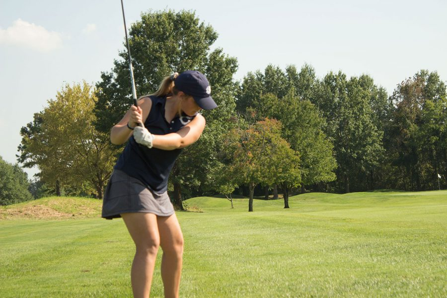 Emily Jesse takes a swing at GAC's. Emily Jesse scored a 106 at GAC's.
