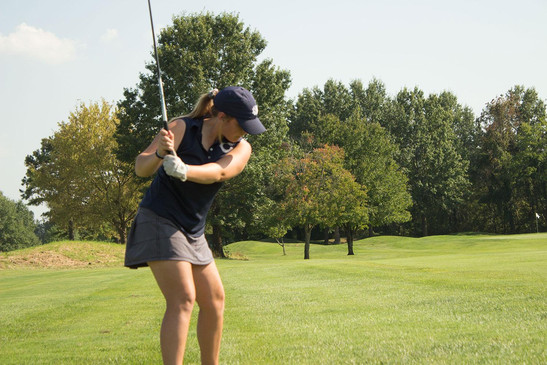 Emily Jesse takes a swing at GAC's. Emily Jesse scored a 106 at GAC's.