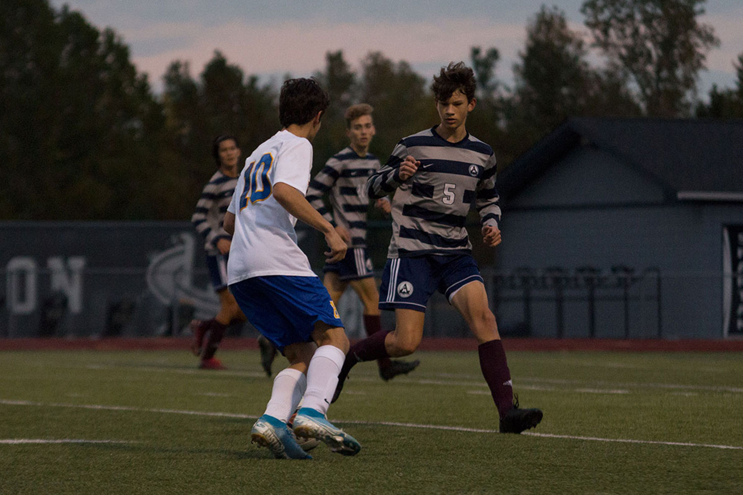 Junior Luke Fisher battles an apposing player from Francis Howell for the ball in last Tuesdays game. Only to lead to a 2-0 defeat.