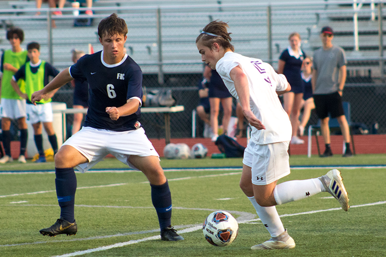 "Sophomore midfielder Ayden Boss defends for his team. Last week, Boss fought hard to keep the ball from going into the goal in the last minute of the first half of his home game against Troy Buchanan on Sept. 17. ""We should be able to grow as a team from this [win], and hopefully carry on the momentum into our next game."""